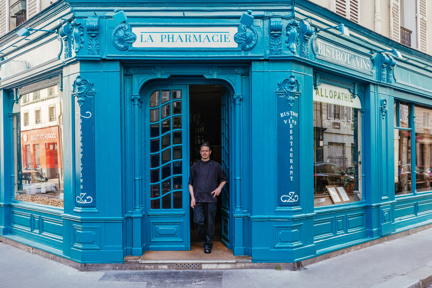 Chef Christophe Duparay in front of his restaurant