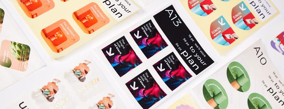 Amostras de etiquetas e stickers