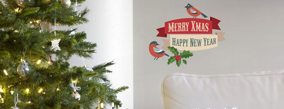 Stora självhäftande dekaler med julmotiv