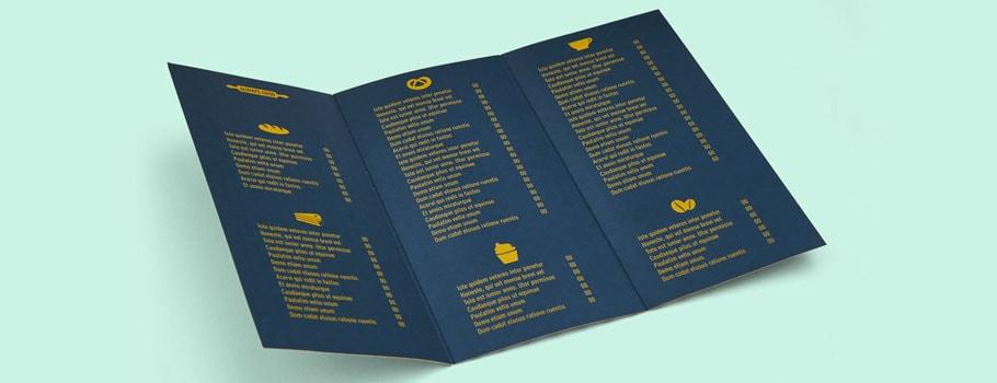 Menukaarten van papier