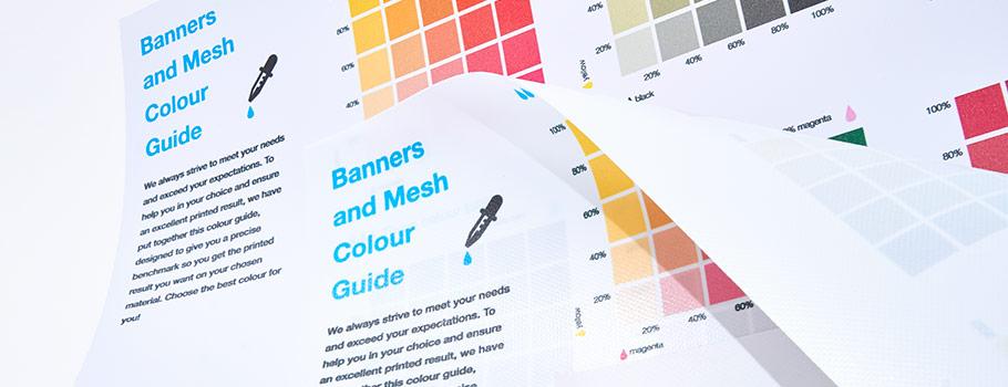 Färgguide banderoller och mesh
