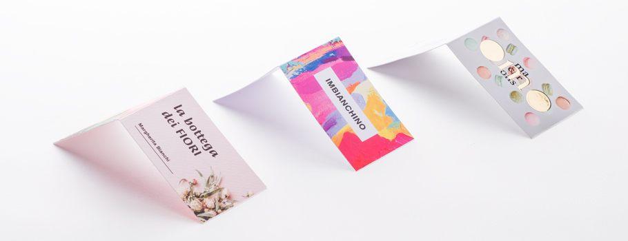 Cartões de visita com dobra