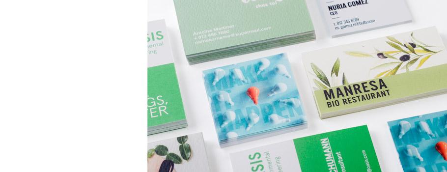 Cartões de visita em papéis especiais