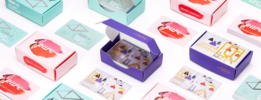 Cajas con lengüeta para tarjetas de visita