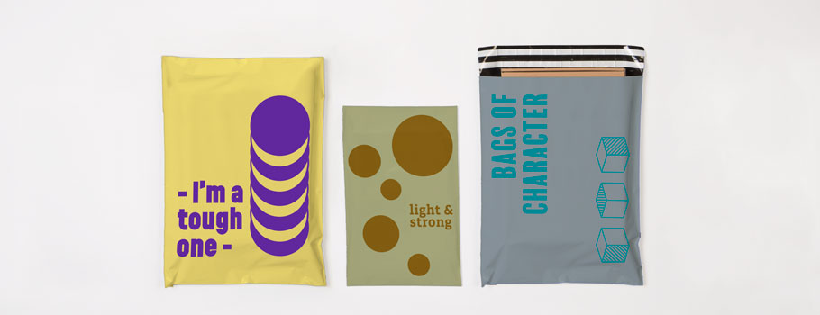 Coloured plastic mailing bags