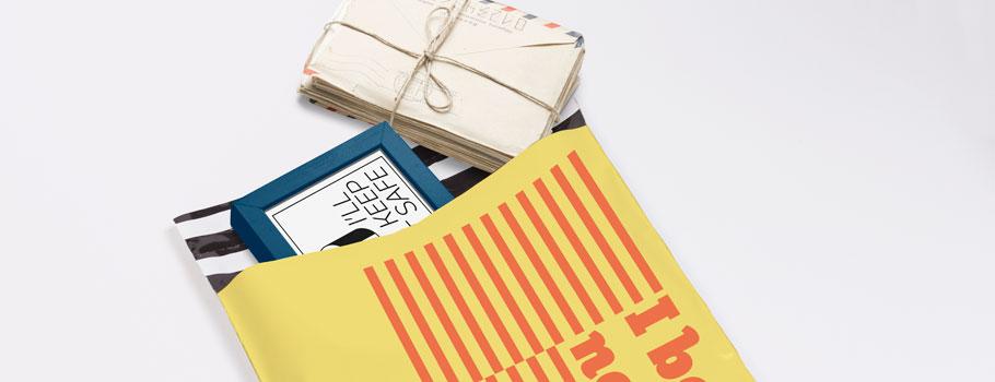 Coloured plastic mailing bags