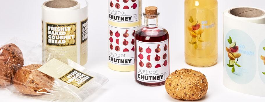 Étiquettes adhésives pour emballages alimentaires