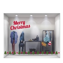 Рождественские ПВХ-наклейки на витрины