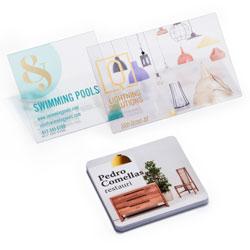 Cartões de visita em PVC